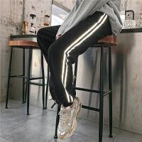 七格格高腰运动裤女2019秋季新款韩版宽松显瘦黑色束脚哈伦裤子潮