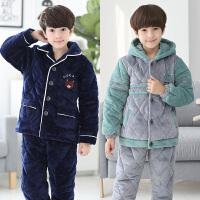 儿童睡衣男童冬季珊瑚绒三层夹棉秋冬中大童保暖家居服