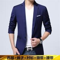 男士西服套装韩版修身小西装三件套青年休闲西装结婚礼服商务正装 6608宝蓝色 M