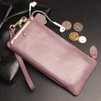 零钱包简约新款女长款钱包头层拉链手机拿包小手多功能简约包包休闲硬币大容量黑色钥匙
