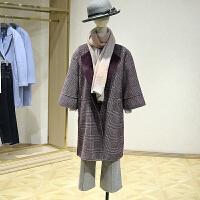 双面呢大衣女冬装新款 韩版格纹休百搭中长款五分袖毛呢外套