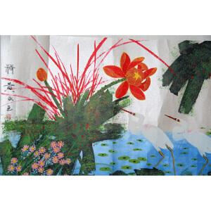 S黄永玉   荷花   68*136