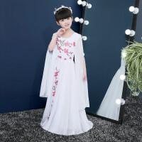 女童舞蹈服钢琴古筝表演演出服小女孩古装汉服白色儿童礼服公主裙