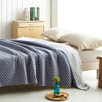 毛巾被棉单人双人纱布毛巾毯子棉夏凉被儿童婴儿午睡毯空调被 蓝色 海洋之星
