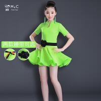 儿童拉丁舞裙演出服新款短袖女孩比赛考级练功服装