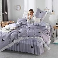 夏季床上四件套纯棉公主风床裙蕾丝荷叶边1.8m双人被套床罩 浅灰色 贝罗