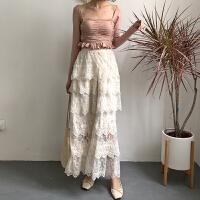 春季新款钩花高腰蕾丝半身裙女温柔花边显瘦长裙仙女裙 杏色