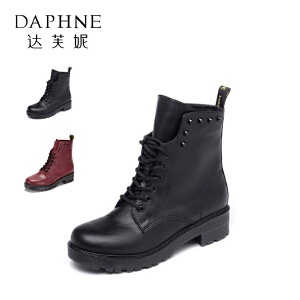 【9.20达芙妮超品2件2折】Daphne/达芙妮街头时尚马丁靴2016潮女中跟系带短靴1516605003