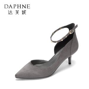 Daphne/达芙妮秋款浅口尖头 性感一字带细跟时尚女单鞋