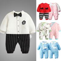 婴儿连体衣服0岁3个月6宝宝新生儿秋冬装冬季女棉衣哈衣连体衣服8