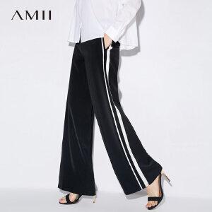 Amii[极简主义]条纹印花休闲长裤2017秋装新款简洁宽松阔腿裤