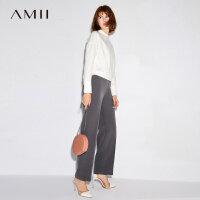 AMII弹力棉氨 纯色休闲长裤女 秋装新款通勤阔腿裤.