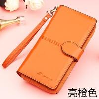钱包女长款拉链手拿包女式手机包多功能百搭大气潮皮夹子新款iuy D02橙色+手腕带