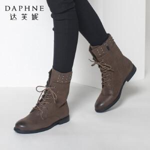 达芙妮女靴子秋冬季系带方跟中筒靴英伦风时尚马丁靴低跟女短靴