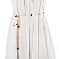 韩版甜美细腰链 配毛衣 窄款 女士腰带 珍珠链条装饰配饰加长