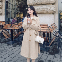 秋冬季女套装2018新款时尚气质小个子中长款毛呢裙两件套 人字纹大衣 加棉加厚