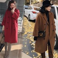 秋冬羊绒加厚保暖毛呢外套女中长款加肥加大码200斤双面呢子大衣