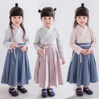 儿童汉服女古装春套装襦裙改良中国风古筝演出服女童国学服装