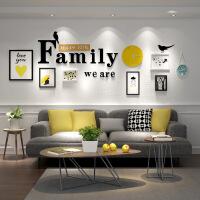 现代简约字母装饰画组合沙发客厅墙上相框墙配钟表软装创意壁画 约占墙面270*93cm