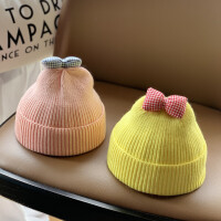 男女宝宝帽子秋冬季毛线帽可爱蝴蝶结婴儿童帽针织