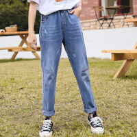 女童牛仔裤春秋2020新款中大童休闲裤子儿童春装长裤