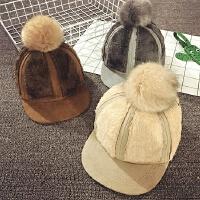 儿童棒球帽秋冬季鸭舌帽平沿毛绒大毛球嘻哈帽宝宝宝宝帽子韩版潮