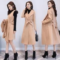 新款毛呢外套女秋冬韩版显瘦套装连衣裙两件套中长款妮子大衣
