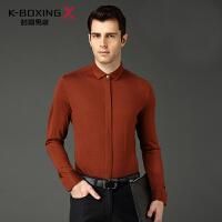 劲霸男装长袖衬衫冬季新款长袖针织衬衫厚保暖羊毛衬衣男FCBY3010