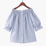 2018夏季新款韩版泡泡短袖一字肩松紧宽松单排扣条纹衬衫娃娃衫夏