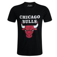公牛队篮球服 男式印花全棉短袖t恤 nba运动球衣