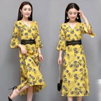 大码女装连衣裙单件年春季套头适中中长款修身七分袖领韩版时尚简约 黄色