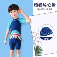 儿童泳衣男童连体分体中大童小童宝宝长短袖防晒男孩鲨鱼泳衣