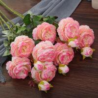 仿真牡丹花玫瑰花束婚庆家居客厅落地装饰茶几假花绢花插花摆件 洋牡丹5枝