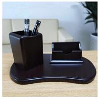 桌面上摆件办公室创意木制笔筒*老板LOGO礼品名片座