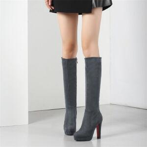 O'SHELL欧希尔新品133-X65欧美磨砂绒面粗跟高跟女士长筒靴