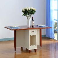 尚满  地中海风格 实木餐厅家具系列 实木框架可折叠餐桌餐台+餐椅组合 带储物柜折叠桌台