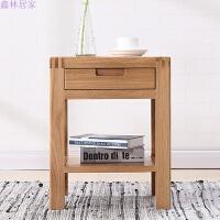 白橡木床头柜简约储物柜子卧室边角柜 全实木家具 日式环保抽屉柜 白橡木(原木色) 整装