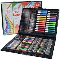 儿童益智玩具绘画文具168件套装礼盒画画玩具画笔蜡笔水彩笔小学生礼物用品红彩黑 绘画套盒