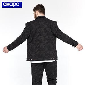 【限时抢购到手价:169元】AMAPO潮牌大码男装 加肥加大时尚迷彩胖子夹克男士秋装新款外套潮