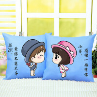 卡通动漫情侣简单十字绣抱枕一对沙发客厅印花枕套汽车抱枕靠垫
