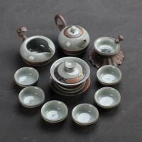 功夫茶具套装家用 整套陶瓷茶具办公茶壶茶杯茶道哥窑冰裂釉开片 哥窑茶具龙壶11入