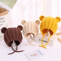 儿童秋冬季护耳针织婴儿毛线可爱宝宝熊耳朵帽子