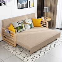 实木沙发床可折叠小户型客厅两用布艺1.2米多功能沙发床1.5米 1.5米-1.8米