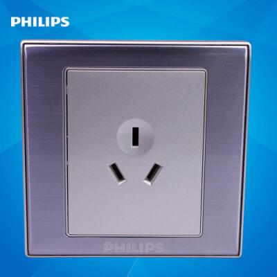 飞利浦墙壁插座面板86型金属系列Q8 810V 三极三孔电源插座