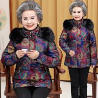秋冬装新款中老年人女装大码休闲妈妈装连帽印花棉衣外套棉袄
