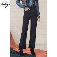 Lily2019秋新款女装时尚直筒微喇缎面拼接翻边牛仔裤119350G5226