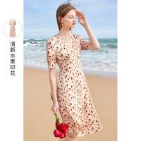 三彩2021夏季新款甜美V领中长款连衣裙高腰印花裙短袖裙子女