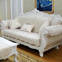 欧式沙发垫雪尼尔四季贵妃坐垫套巾罩全盖米白色定制