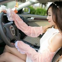 夏季雪纺蕾丝素色防晒袖套手套 简约长款遮阳防紫外线 橡皮粉