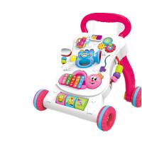 宝宝学步车手推车防侧翻可调速助步车婴儿童玩具6-7-18个月1岁 公主版【充电】 健身球画板+汽车 送增重袋+螺丝刀